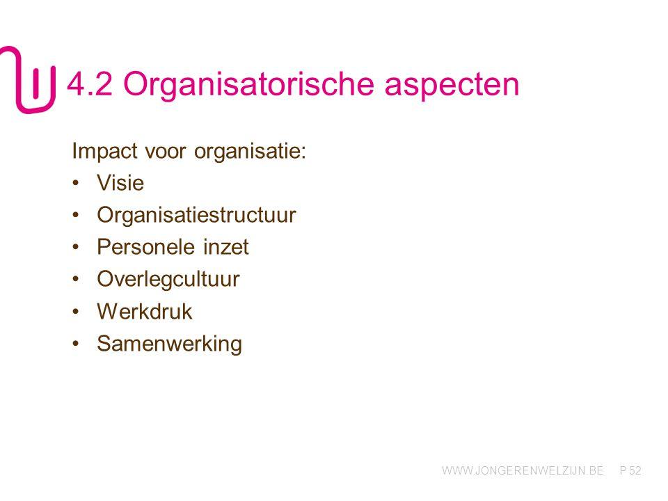 WWW.JONGERENWELZIJN.BE P 52 4.2 Organisatorische aspecten Impact voor organisatie: Visie Organisatiestructuur Personele inzet Overlegcultuur Werkdruk Samenwerking