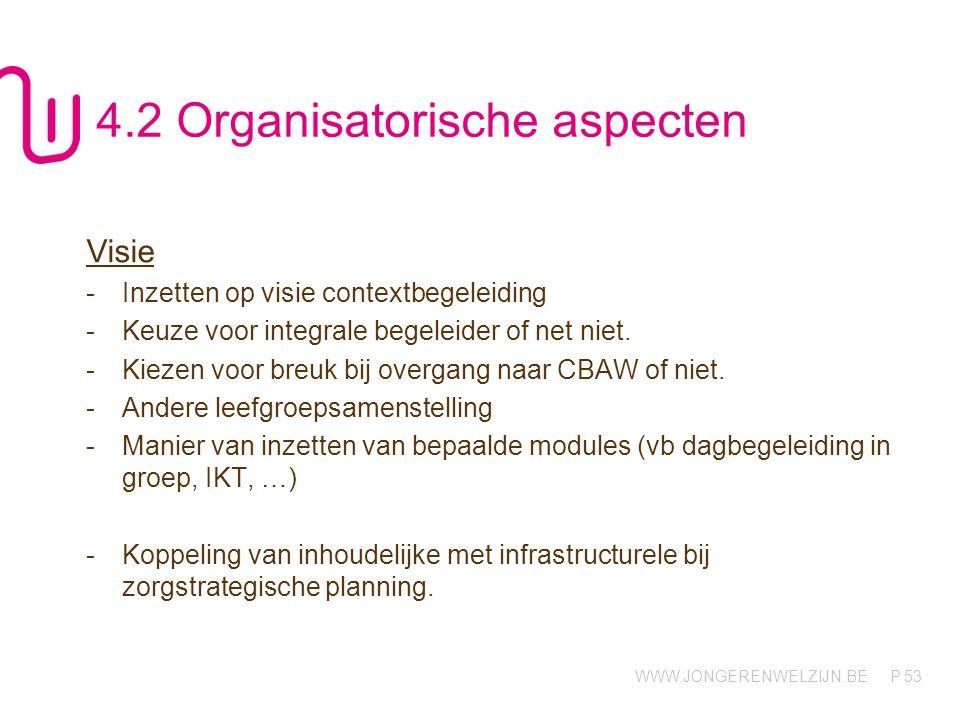 WWW.JONGERENWELZIJN.BE P 53 4.2 Organisatorische aspecten Visie -Inzetten op visie contextbegeleiding -Keuze voor integrale begeleider of net niet. -K