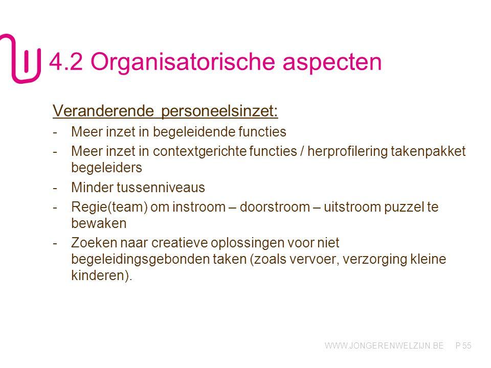 WWW.JONGERENWELZIJN.BE P 55 4.2 Organisatorische aspecten Veranderende personeelsinzet: -Meer inzet in begeleidende functies -Meer inzet in contextger