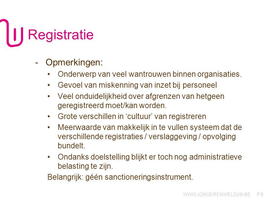 WWW.JONGERENWELZIJN.BE P 6 Registratie -Opmerkingen: Onderwerp van veel wantrouwen binnen organisaties. Gevoel van miskenning van inzet bij personeel