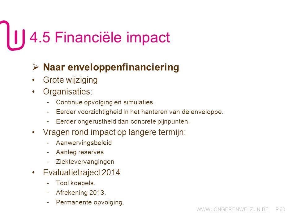 WWW.JONGERENWELZIJN.BE P 60 4.5 Financiële impact  Naar enveloppenfinanciering Grote wijziging Organisaties: -Continue opvolging en simulaties.