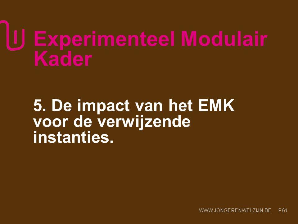 WWW.JONGERENWELZIJN.BE P Experimenteel Modulair Kader 5. De impact van het EMK voor de verwijzende instanties. 61