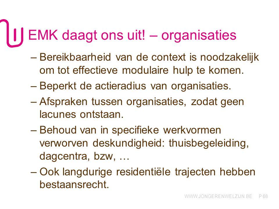 WWW.JONGERENWELZIJN.BE P EMK daagt ons uit! – organisaties –Bereikbaarheid van de context is noodzakelijk om tot effectieve modulaire hulp te komen. –