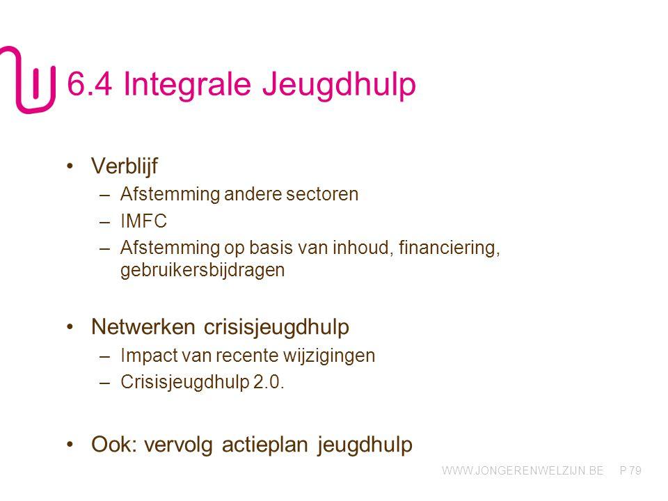 WWW.JONGERENWELZIJN.BE P 79 6.4 Integrale Jeugdhulp Verblijf –Afstemming andere sectoren –IMFC –Afstemming op basis van inhoud, financiering, gebruike