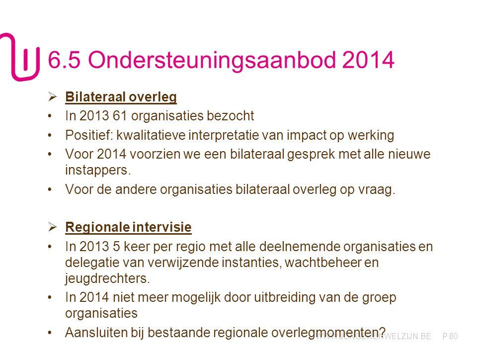 WWW.JONGERENWELZIJN.BE P 80 6.5 Ondersteuningsaanbod 2014  Bilateraal overleg In 2013 61 organisaties bezocht Positief: kwalitatieve interpretatie van impact op werking Voor 2014 voorzien we een bilateraal gesprek met alle nieuwe instappers.