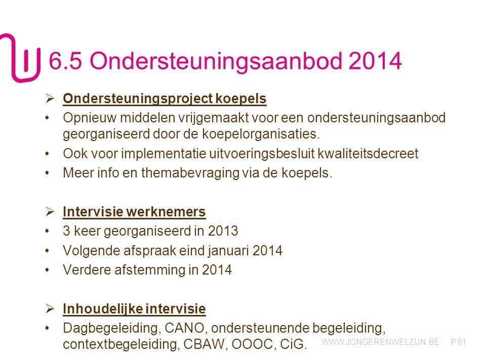 WWW.JONGERENWELZIJN.BE P 81 6.5 Ondersteuningsaanbod 2014  Ondersteuningsproject koepels Opnieuw middelen vrijgemaakt voor een ondersteuningsaanbod georganiseerd door de koepelorganisaties.