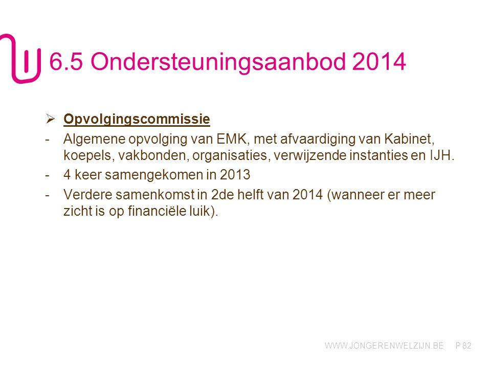 WWW.JONGERENWELZIJN.BE P 82 6.5 Ondersteuningsaanbod 2014  Opvolgingscommissie -Algemene opvolging van EMK, met afvaardiging van Kabinet, koepels, vakbonden, organisaties, verwijzende instanties en IJH.
