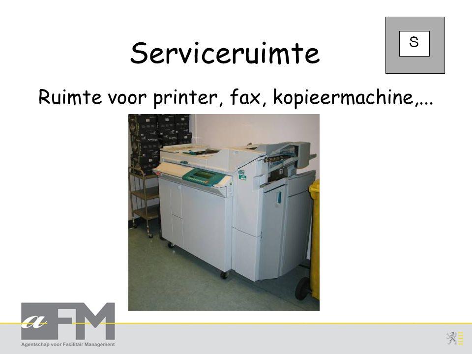 Serviceruimte Ruimte voor printer, fax, kopieermachine,...