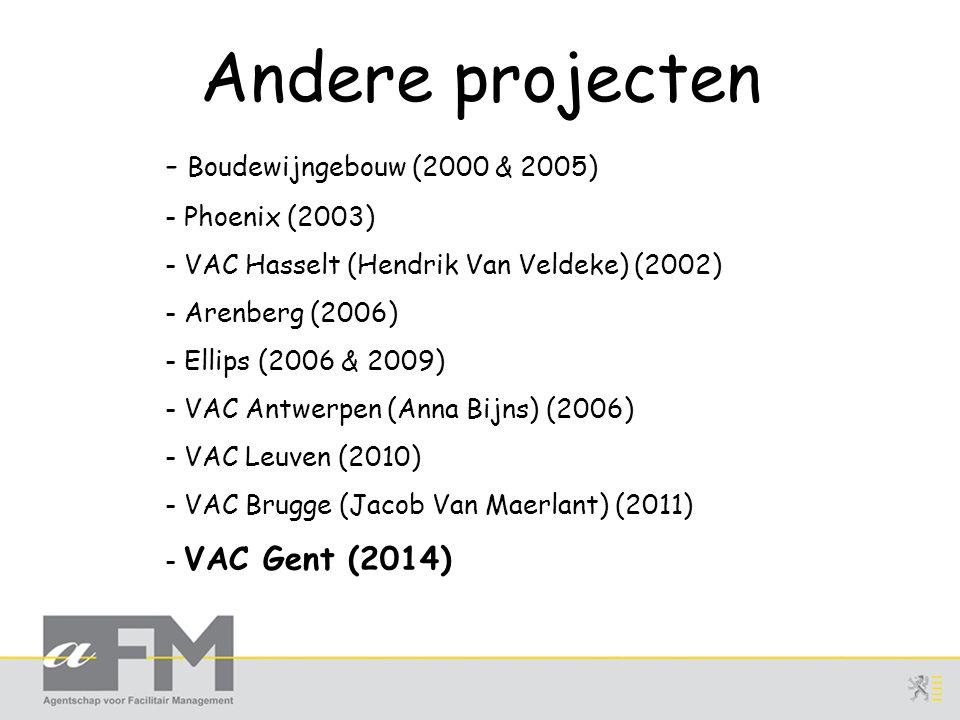 Andere projecten - Boudewijngebouw (2000 & 2005) - Phoenix (2003) - VAC Hasselt (Hendrik Van Veldeke) (2002) - Arenberg (2006) - Ellips (2006 & 2009) - VAC Antwerpen (Anna Bijns) (2006) - VAC Leuven (2010) - VAC Brugge (Jacob Van Maerlant) (2011) - VAC Gent (2014)