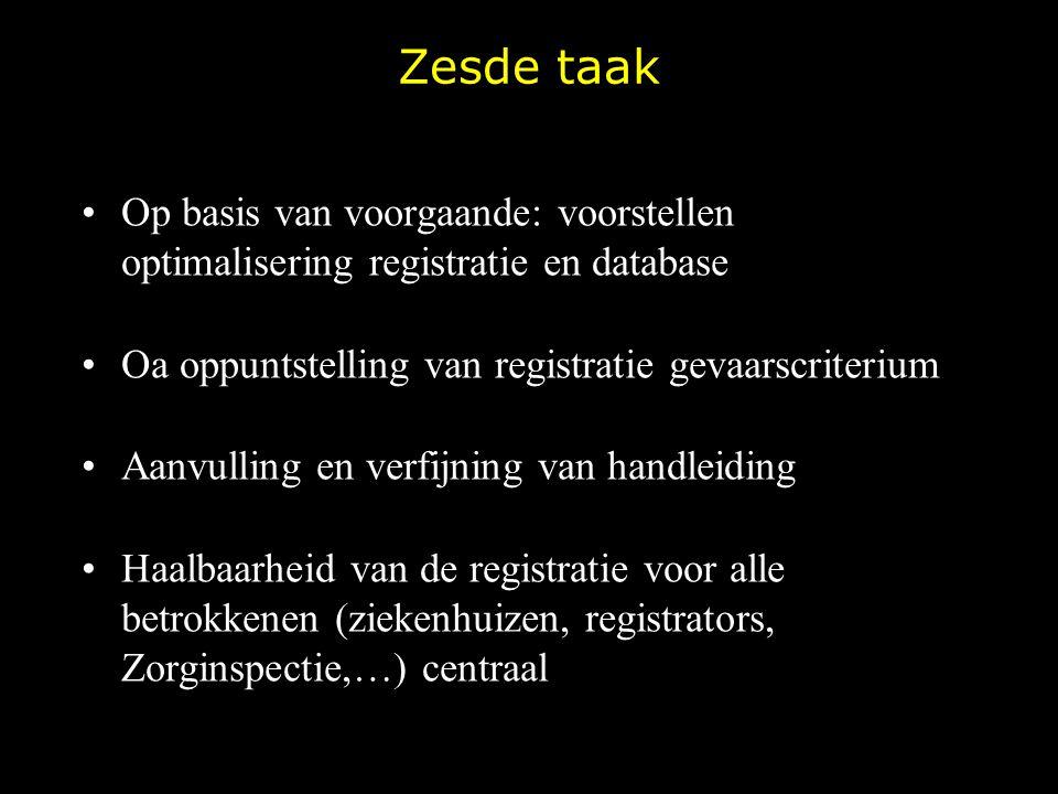 Zesde taak Op basis van voorgaande: voorstellen optimalisering registratie en database Oa oppuntstelling van registratie gevaarscriterium Aanvulling e