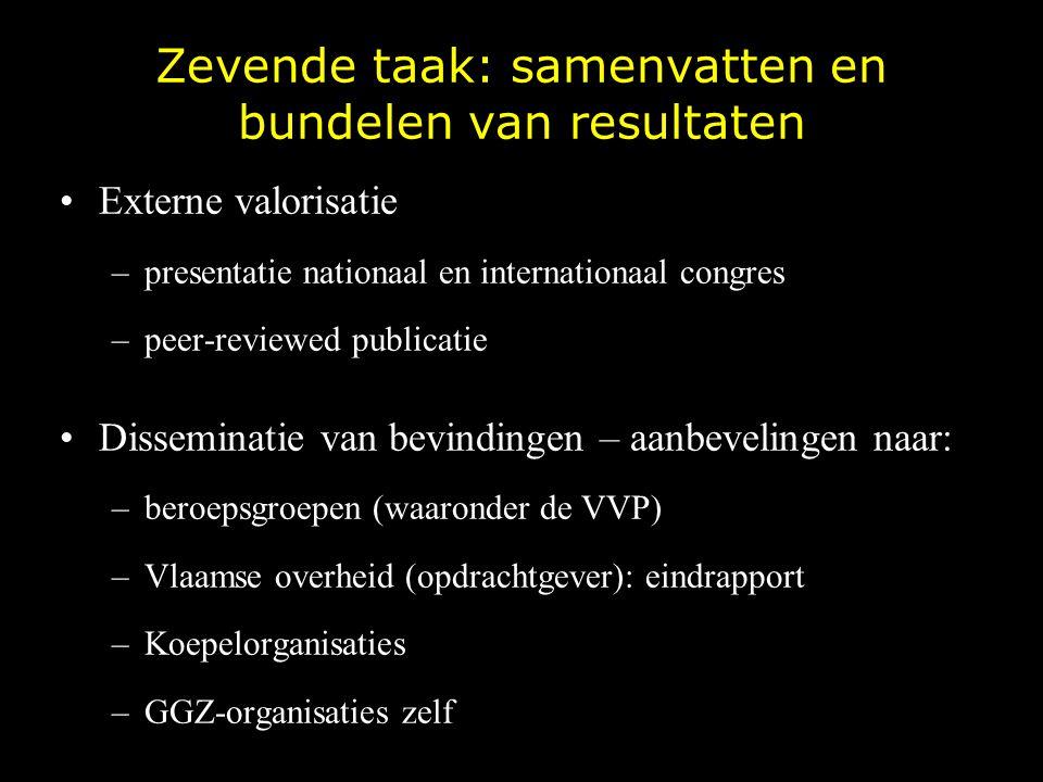 Zevende taak: samenvatten en bundelen van resultaten Externe valorisatie –presentatie nationaal en internationaal congres –peer-reviewed publicatie Di