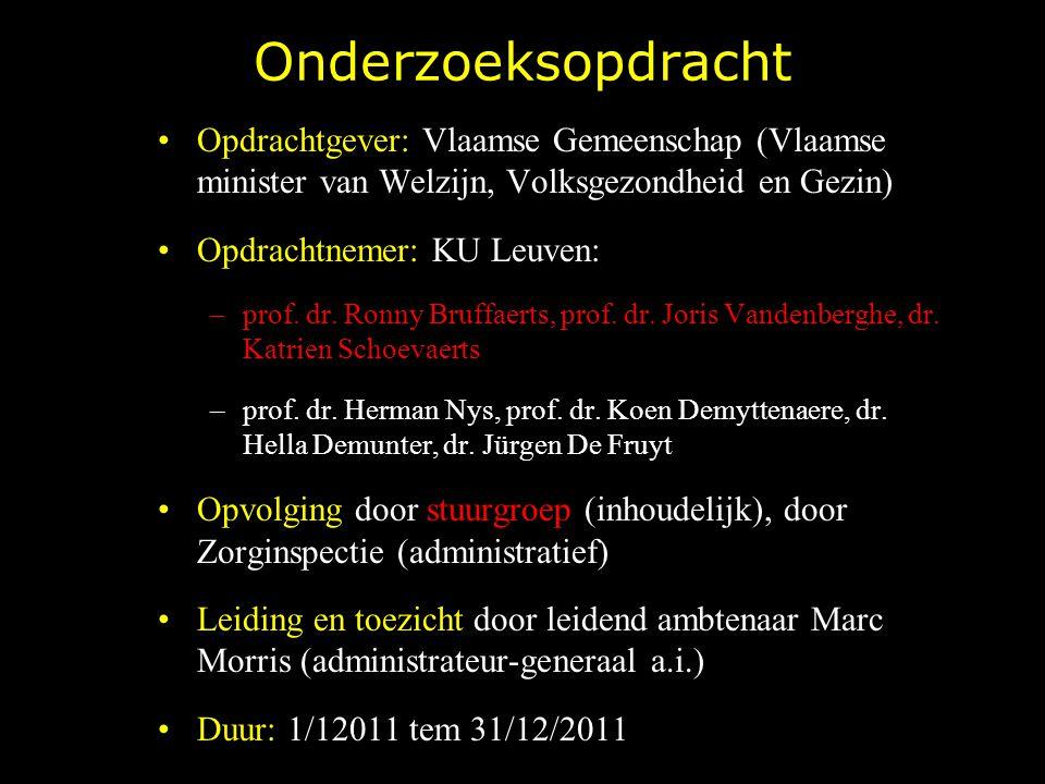 Onderzoeksopdracht Opdrachtgever: Vlaamse Gemeenschap (Vlaamse minister van Welzijn, Volksgezondheid en Gezin) Opdrachtnemer: KU Leuven: –prof. dr. Ro