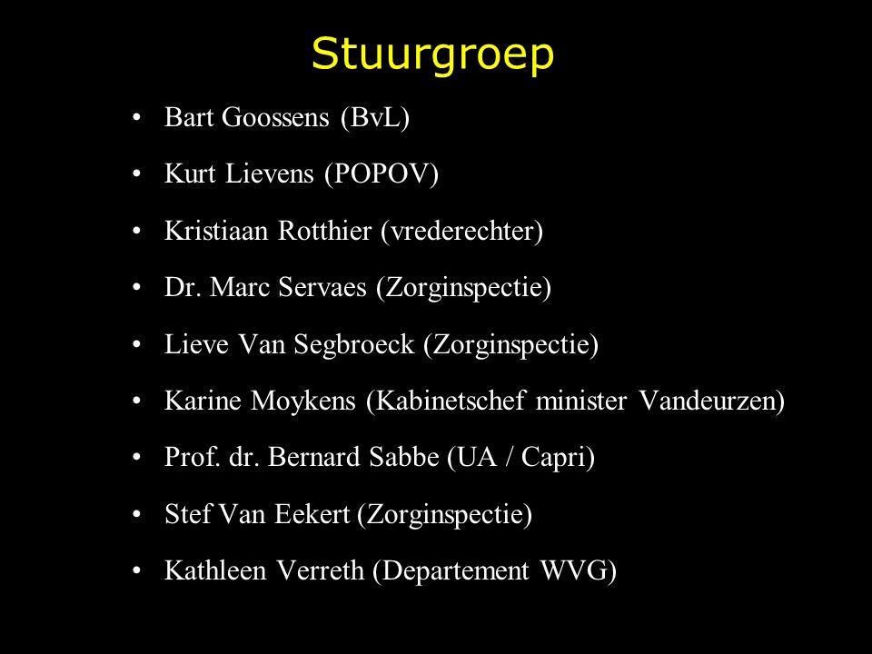 Stuurgroep Bart Goossens (BvL) Kurt Lievens (POPOV) Kristiaan Rotthier (vrederechter) Dr. Marc Servaes (Zorginspectie) Lieve Van Segbroeck (Zorginspec