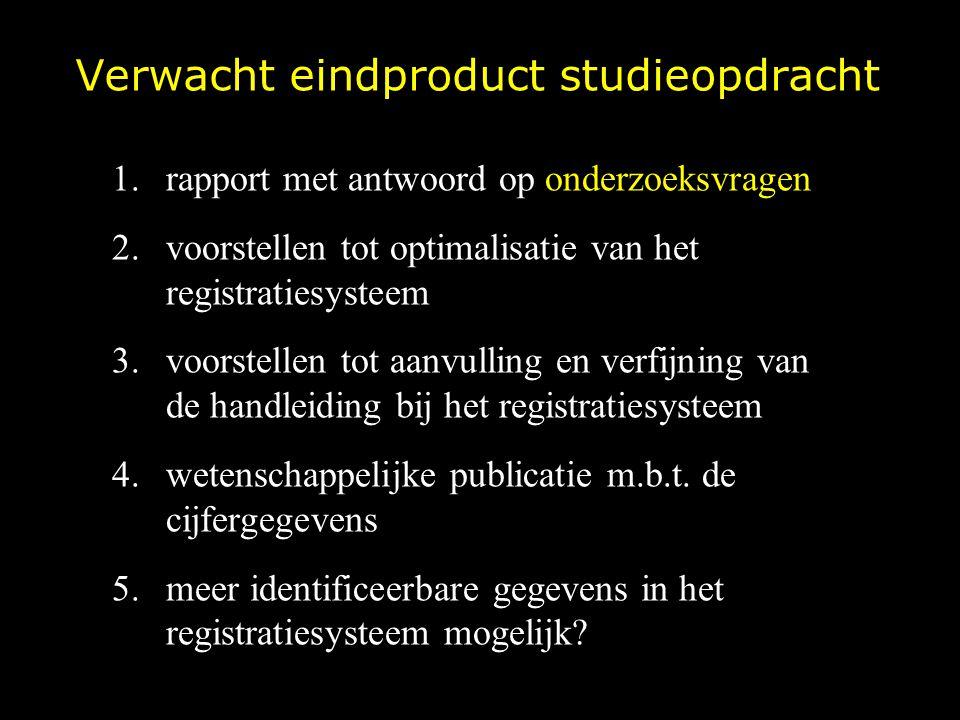 Verwacht eindproduct studieopdracht 1.rapport met antwoord op onderzoeksvragen 2.voorstellen tot optimalisatie van het registratiesysteem 3.voorstelle