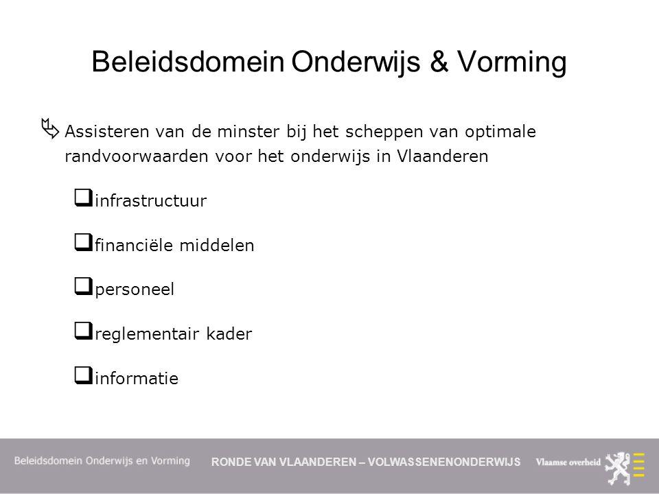 RONDE VAN VLAANDEREN – VOLWASSENENONDERWIJS Beleidsdomein Onderwijs & Vorming  Assisteren van de minster bij het scheppen van optimale randvoorwaarden voor het onderwijs in Vlaanderen  infrastructuur  financiële middelen  personeel  reglementair kader  informatie