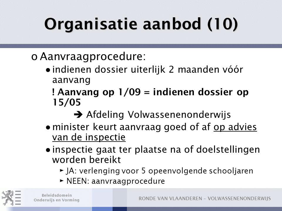 RONDE VAN VLAANDEREN – VOLWASSENENONDERWIJS Beleidsdomein Onderwijs en Vorming Organisatie aanbod (10) oAanvraagprocedure: ● indienen dossier uiterlijk 2 maanden vóór aanvang .