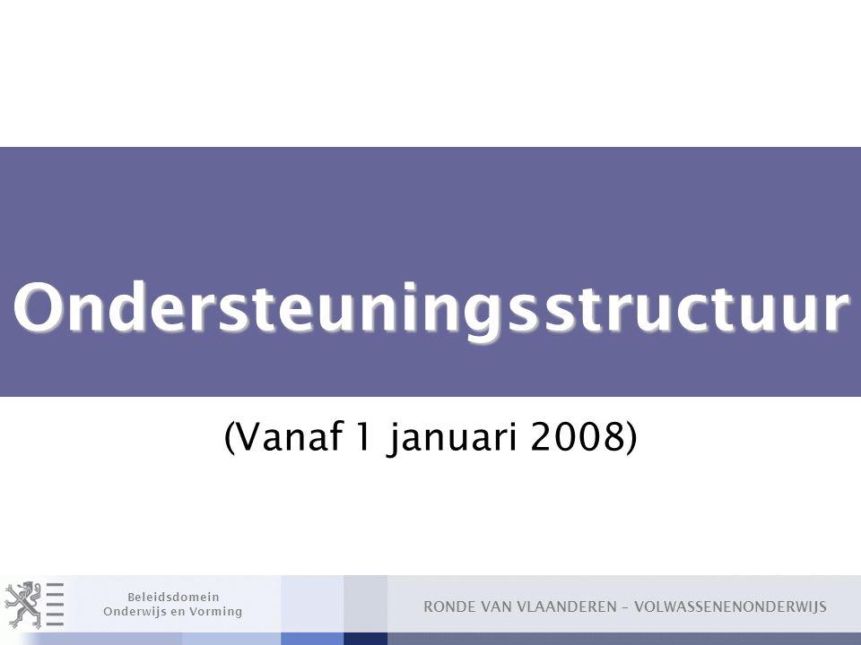 RONDE VAN VLAANDEREN – VOLWASSENENONDERWIJS Beleidsdomein Onderwijs en Vorming Ondersteuningsstructuur Ondersteuningsstructuur (Vanaf 1 januari 2008)