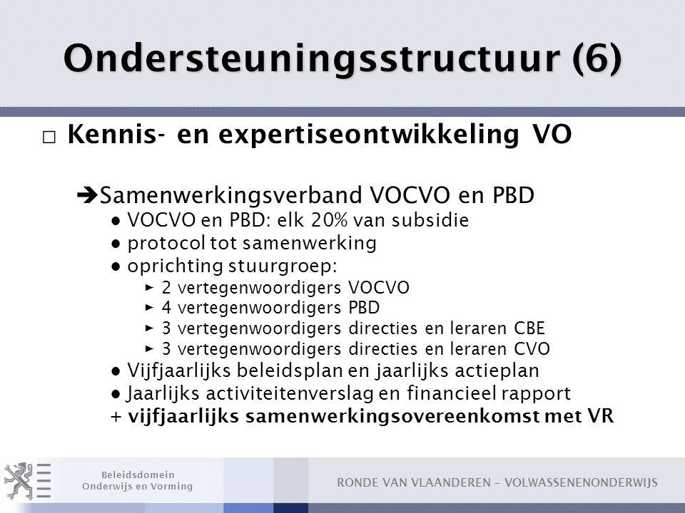 RONDE VAN VLAANDEREN – VOLWASSENENONDERWIJS Beleidsdomein Onderwijs en Vorming Ondersteuningsstructuur (6) □ Kennis- en expertiseontwikkeling VO  Sam