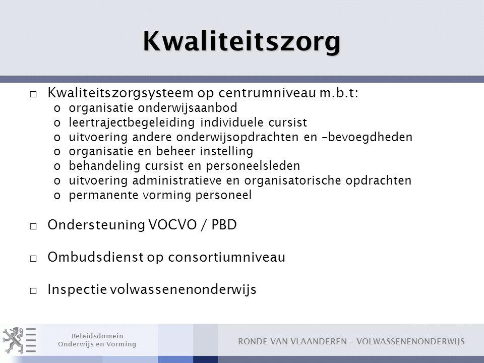RONDE VAN VLAANDEREN – VOLWASSENENONDERWIJS Beleidsdomein Onderwijs en Vorming Kwaliteitszorg □ Kwaliteitszorgsysteem op centrumniveau m.b.t: oorganis