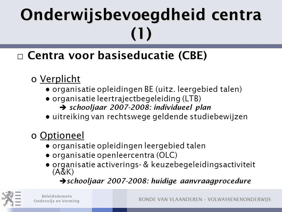 RONDE VAN VLAANDEREN – VOLWASSENENONDERWIJS Beleidsdomein Onderwijs en Vorming Onderwijsbevoegdheid centra (1) □ Centra voor basiseducatie (CBE) oVerp