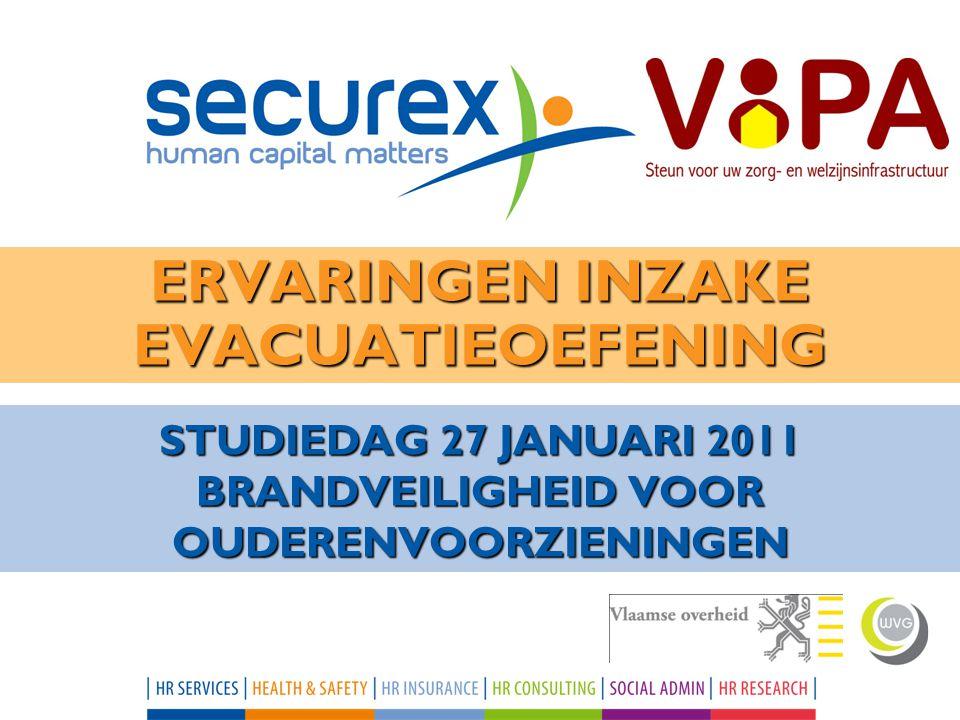 STUDIEDAG 27 JANUARI 2011 BRANDVEILIGHEID VOOR OUDERENVOORZIENINGEN ERVARINGEN INZAKE EVACUATIEOEFENING