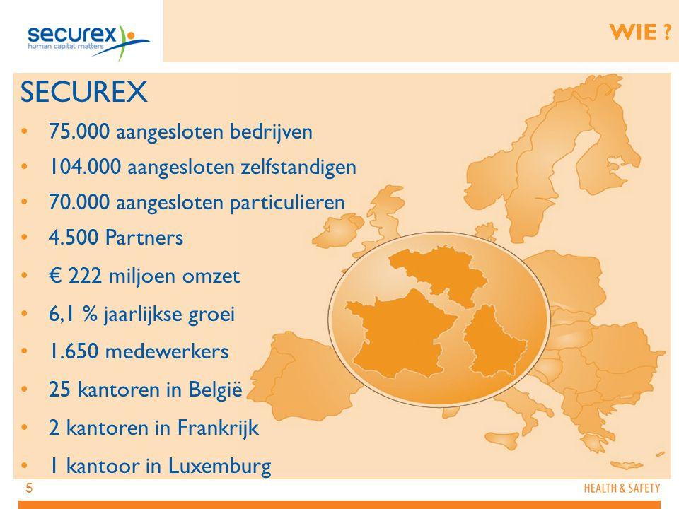 5 SECUREX 75.000 aangesloten bedrijven 104.000 aangesloten zelfstandigen 70.000 aangesloten particulieren 4.500 Partners € 222 miljoen omzet 6,1 % jaa