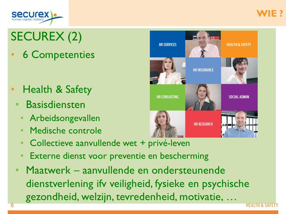 6 WIE ? SECUREX (2) 6 Competenties Health & Safety Basisdiensten Arbeidsongevallen Medische controle Collectieve aanvullende wet + privé-leven Externe