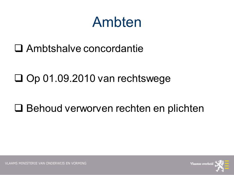 Ambten  Ambtshalve concordantie  Op 01.09.2010 van rechtswege  Behoud verworven rechten en plichten