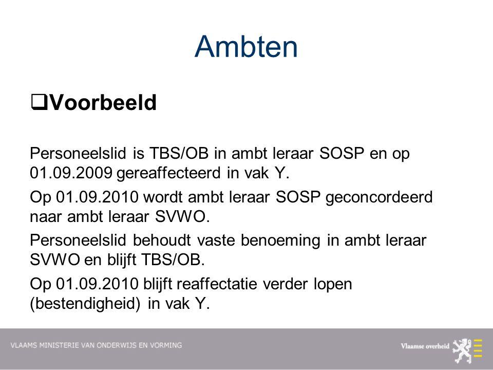 Ambten  Voorbeeld Personeelslid is TBS/OB in ambt leraar SOSP en op 01.09.2009 gereaffecteerd in vak Y.
