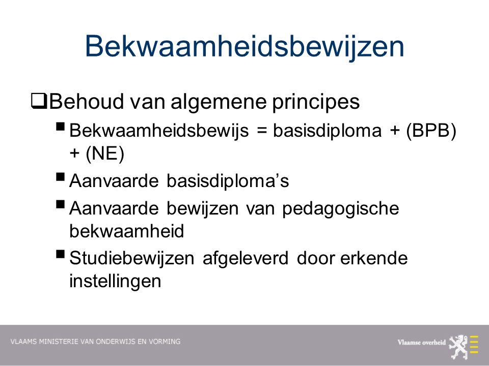 Bekwaamheidsbewijzen  Behoud van algemene principes  Bekwaamheidsbewijs = basisdiploma + (BPB) + (NE)  Aanvaarde basisdiploma's  Aanvaarde bewijzen van pedagogische bekwaamheid  Studiebewijzen afgeleverd door erkende instellingen