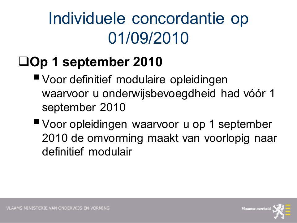 Individuele concordantie op 01/09/2010  Op 1 september 2010  Voor definitief modulaire opleidingen waarvoor u onderwijsbevoegdheid had vóór 1 september 2010  Voor opleidingen waarvoor u op 1 september 2010 de omvorming maakt van voorlopig naar definitief modulair
