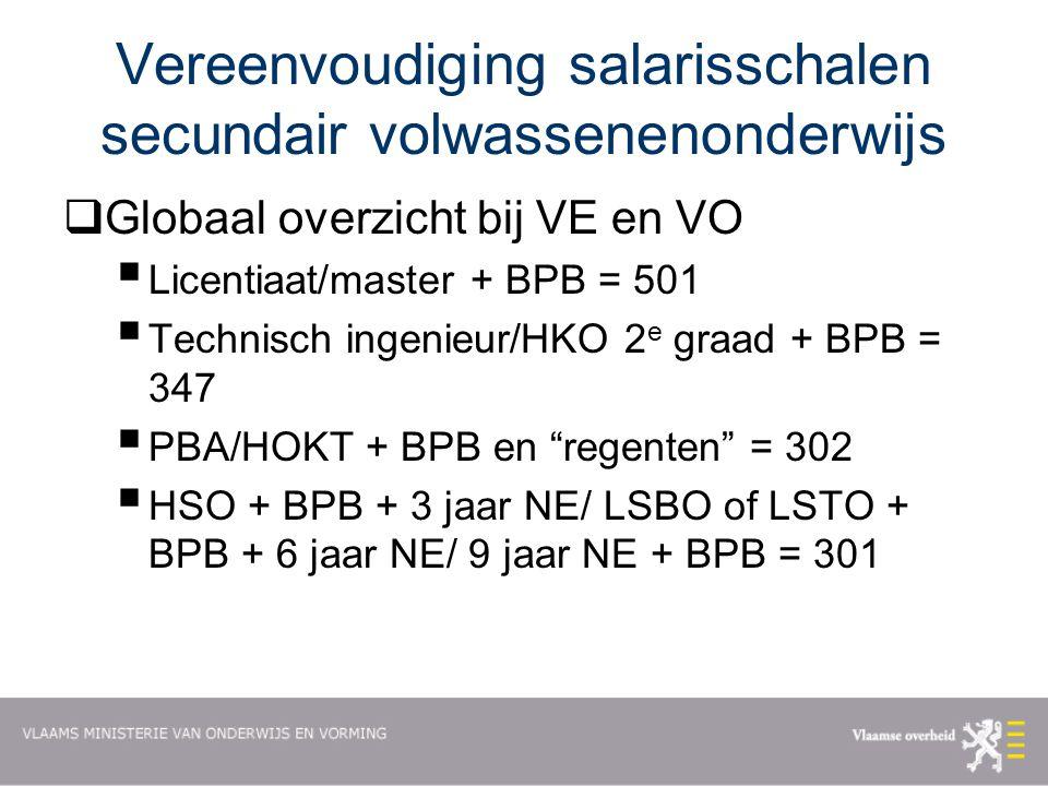 Vereenvoudiging salarisschalen secundair volwassenenonderwijs  Globaal overzicht bij VE en VO  Licentiaat/master + BPB = 501  Technisch ingenieur/HKO 2 e graad + BPB = 347  PBA/HOKT + BPB en regenten = 302  HSO + BPB + 3 jaar NE/ LSBO of LSTO + BPB + 6 jaar NE/ 9 jaar NE + BPB = 301