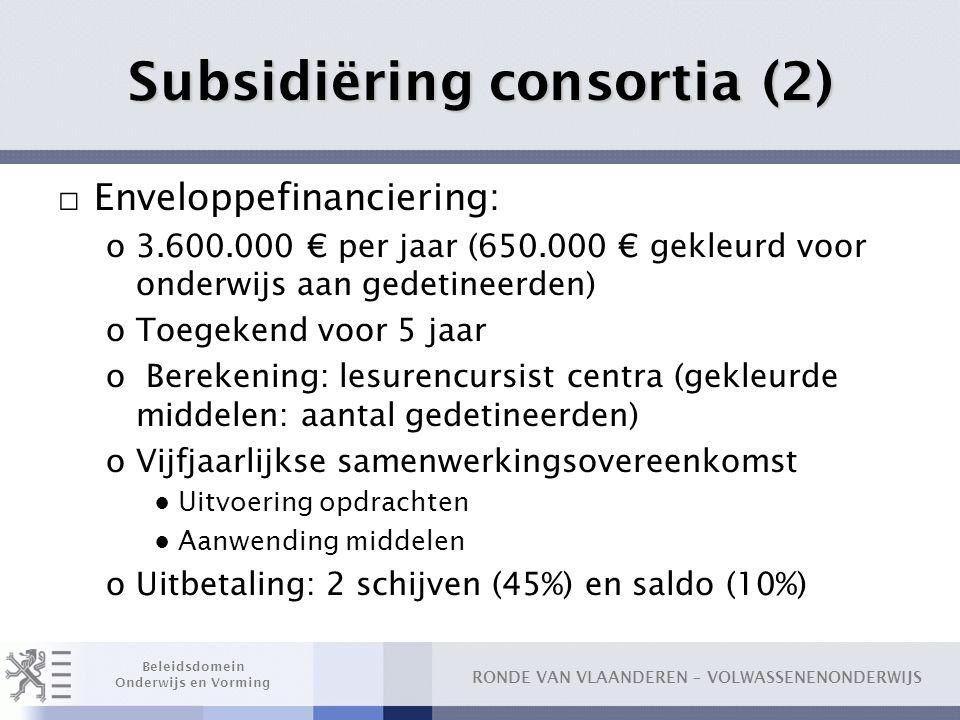 RONDE VAN VLAANDEREN – VOLWASSENENONDERWIJS Beleidsdomein Onderwijs en Vorming Subsidiëring consortia (2) □ Enveloppefinanciering: o3.600.000 € per ja