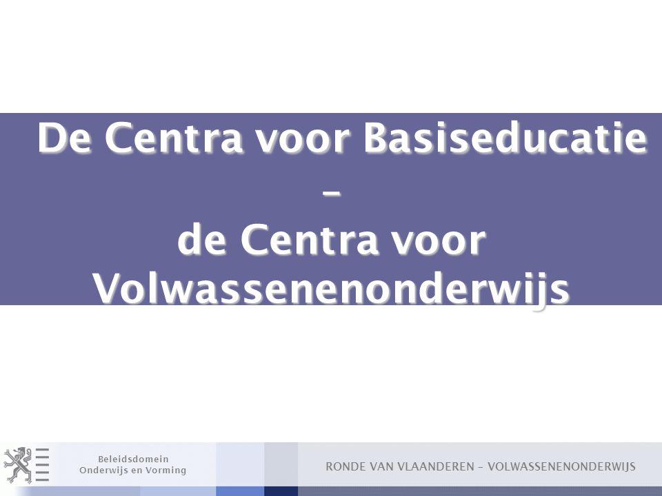 RONDE VAN VLAANDEREN – VOLWASSENENONDERWIJS Beleidsdomein Onderwijs en Vorming Overgangsbepalingen financiering/subsidiëring CVO (4) □ Inschrijvingsgelden oSchooljaar 2007-2008 ● Vork 0,80 – 1 euro (vrije keuze centra) ● Gewaarborgde werkingsmiddelen per LUC: 0,55 euro ● Vordering Fonds: 0,05 euro voor ontvangen inschrijvingsgelden (onafhankelijk van aangerekend inschrijvingsgeld)