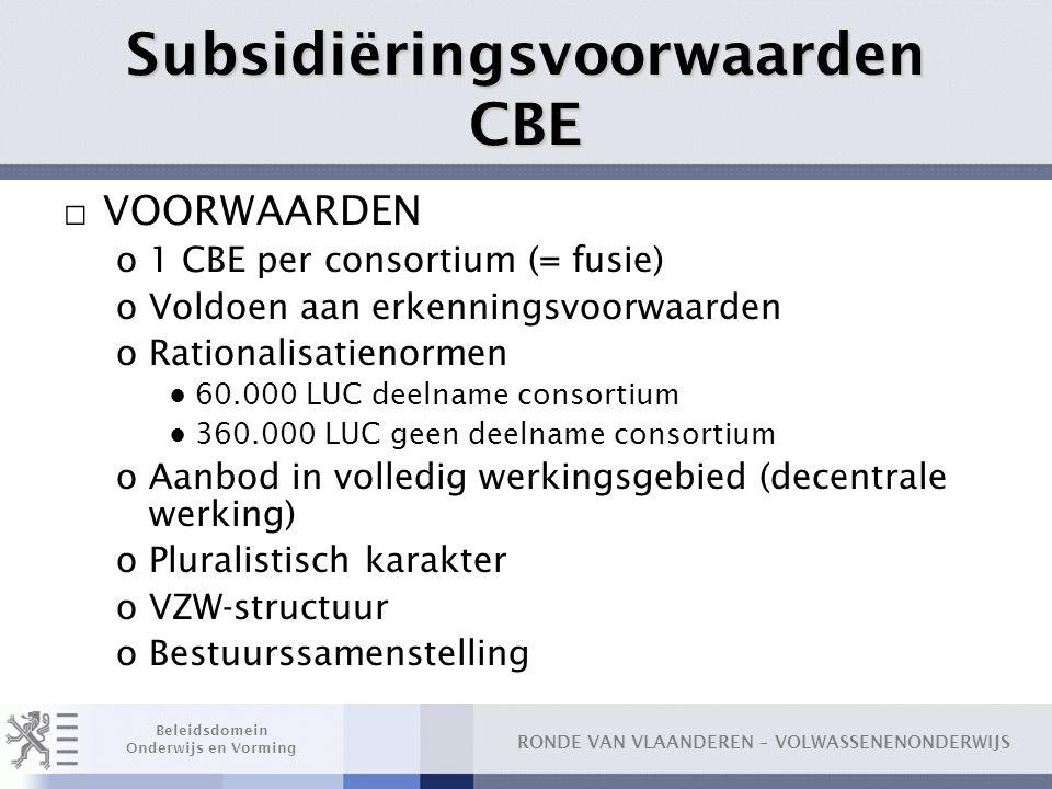 RONDE VAN VLAANDEREN – VOLWASSENENONDERWIJS Beleidsdomein Onderwijs en Vorming Subsidiëringsvoorwaarden CBE □ VOORWAARDEN o1 CBE per consortium (= fus