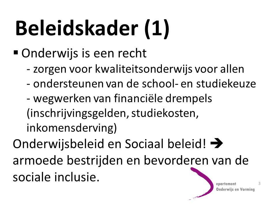 3 Beleidskader (1)  Onderwijs is een recht - zorgen voor kwaliteitsonderwijs voor allen - ondersteunen van de school- en studiekeuze - wegwerken van financiële drempels (inschrijvingsgelden, studiekosten, inkomensderving) Onderwijsbeleid en Sociaal beleid.