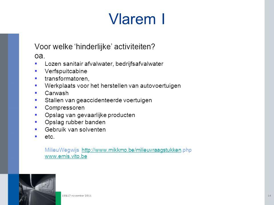 16&17 november 201114 Vlarem I Voor welke 'hinderlijke' activiteiten? oa.  Lozen sanitair afvalwater, bedrijfsafvalwater  Verfspuitcabine  transfor
