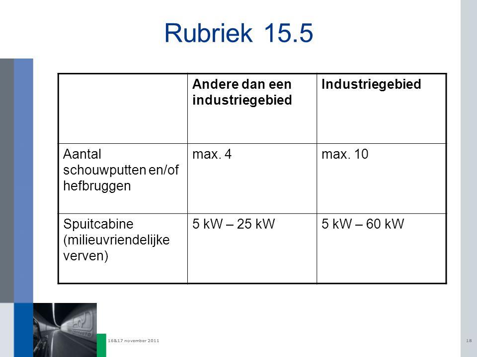 16&17 november 201118 Rubriek 15.5 Andere dan een industriegebied Industriegebied Aantal schouwputten en/of hefbruggen max. 4max. 10 Spuitcabine (mili