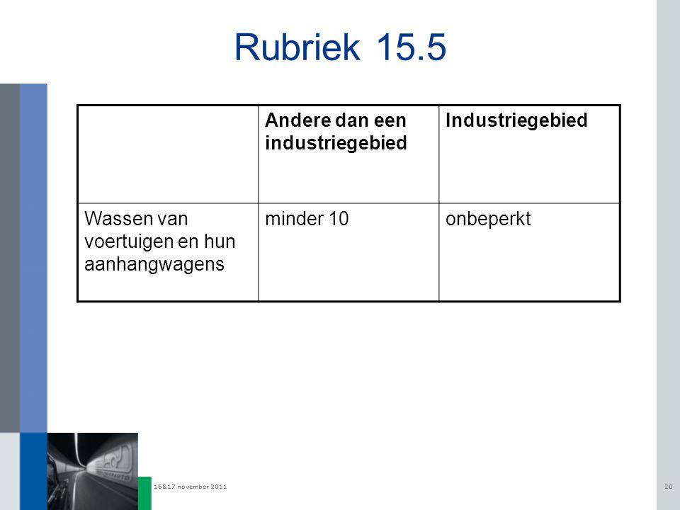 16&17 november 201120 Rubriek 15.5 Andere dan een industriegebied Industriegebied Wassen van voertuigen en hun aanhangwagens minder 10onbeperkt