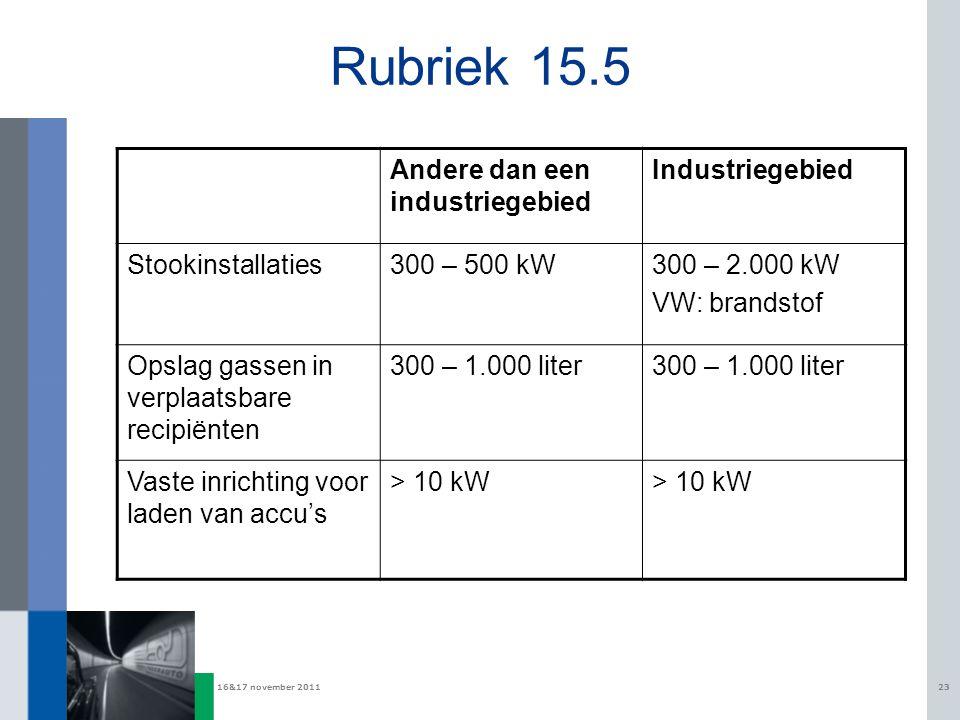 16&17 november 201123 Rubriek 15.5 Andere dan een industriegebied Industriegebied Stookinstallaties300 – 500 kW300 – 2.000 kW VW: brandstof Opslag gas