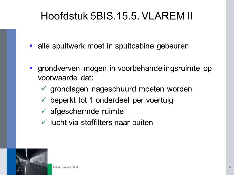 16&17 november 201131 Hoofdstuk 5BIS.15.5. VLAREM II  alle spuitwerk moet in spuitcabine gebeuren  grondverven mogen in voorbehandelingsruimte op vo