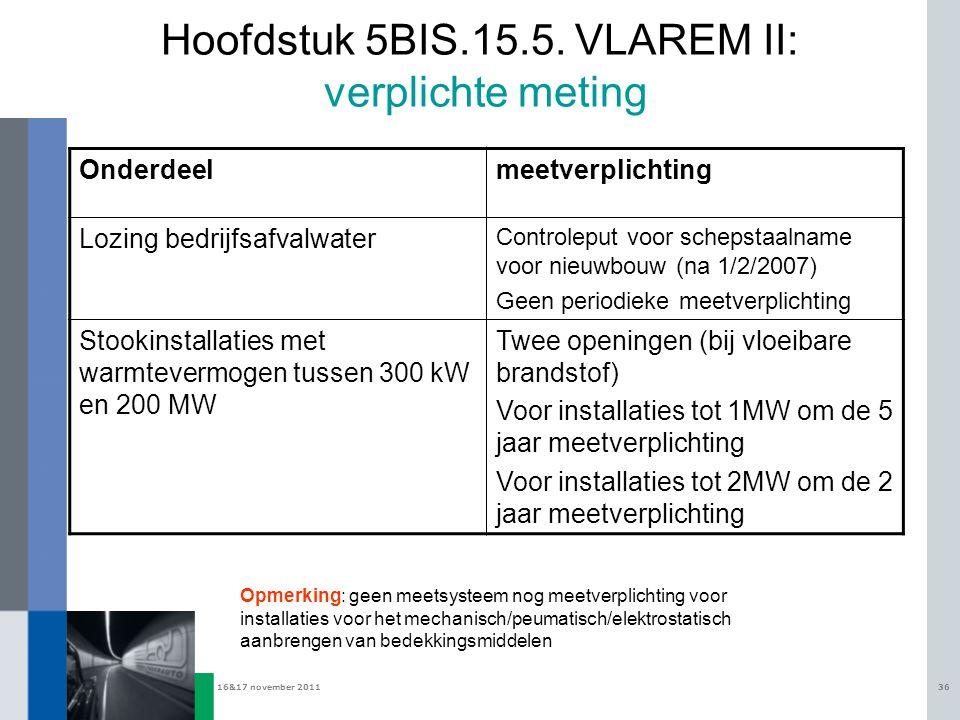 16&17 november 201136 Hoofdstuk 5BIS.15.5. VLAREM II: verplichte meting Onderdeelmeetverplichting Lozing bedrijfsafvalwater Controleput voor schepstaa