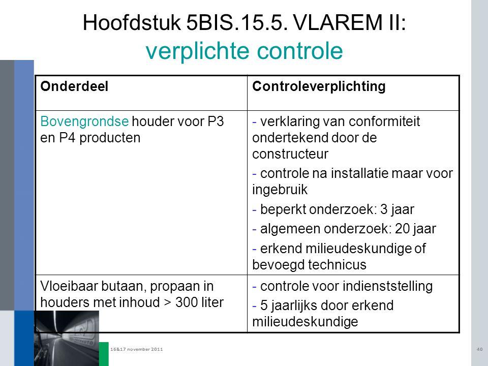 16&17 november 201140 Hoofdstuk 5BIS.15.5. VLAREM II: verplichte controle OnderdeelControleverplichting Bovengrondse houder voor P3 en P4 producten -