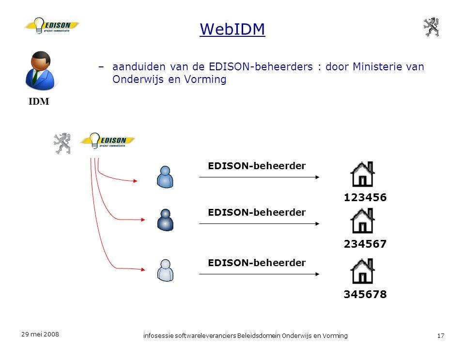 29 mei 2008 infosessie softwareleveranciers Beleidsdomein Onderwijs en Vorming17 WebIDM IDM –aanduiden van de EDISON-beheerders : door Ministerie van Onderwijs en Vorming EDISON-beheerder 123456 234567 345678