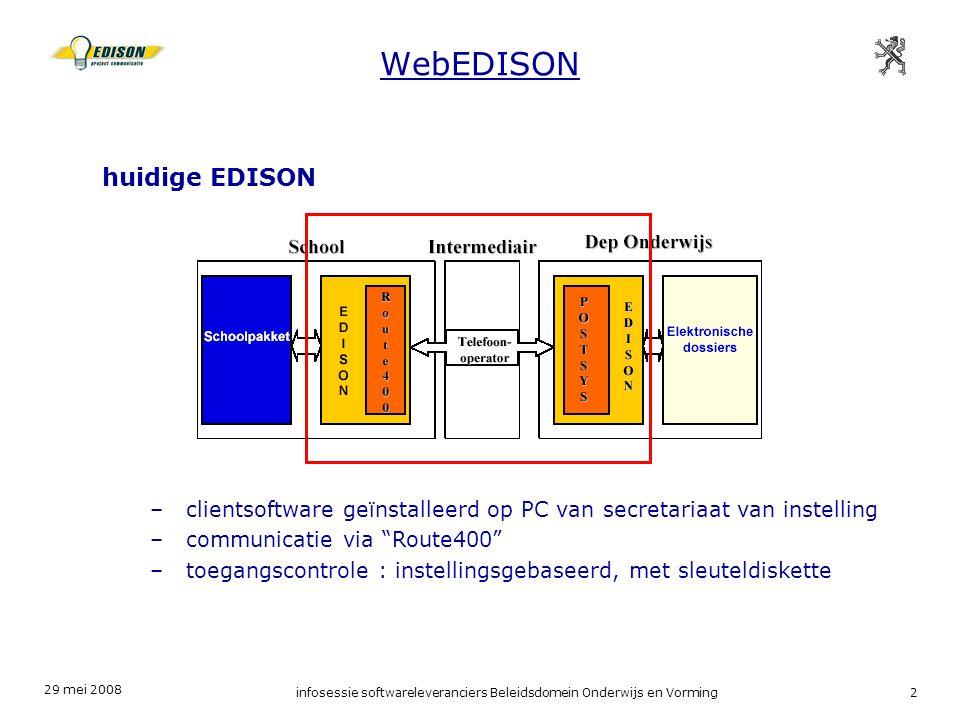 29 mei 2008 infosessie softwareleveranciers Beleidsdomein Onderwijs en Vorming2 WebEDISON huidige EDISON –clientsoftware geïnstalleerd op PC van secretariaat van instelling –communicatie via Route400 –toegangscontrole : instellingsgebaseerd, met sleuteldiskette