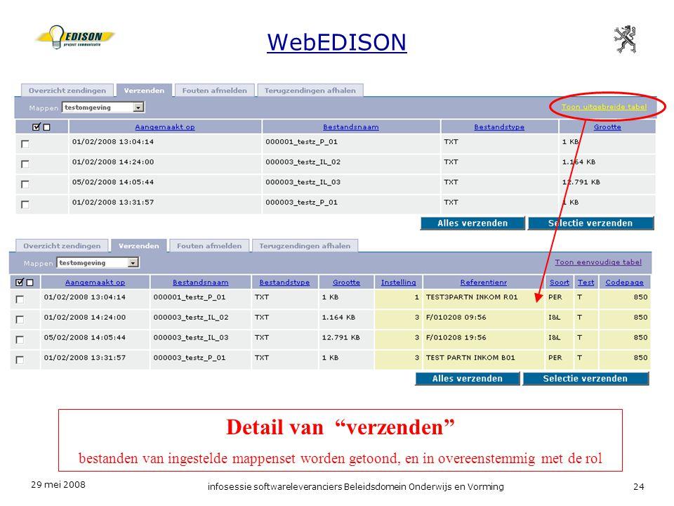 29 mei 2008 infosessie softwareleveranciers Beleidsdomein Onderwijs en Vorming24 WebEDISON Detail van verzenden bestanden van ingestelde mappenset worden getoond, en in overeenstemmig met de rol