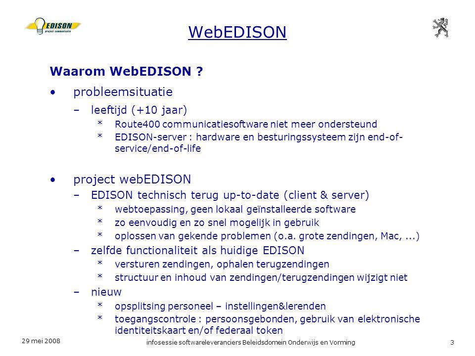 29 mei 2008 infosessie softwareleveranciers Beleidsdomein Onderwijs en Vorming4 schoolpakket Electronische Dossiers WebEDISON ACM (toegangscontrole) IDM (functie controle) WebEDISON Departement