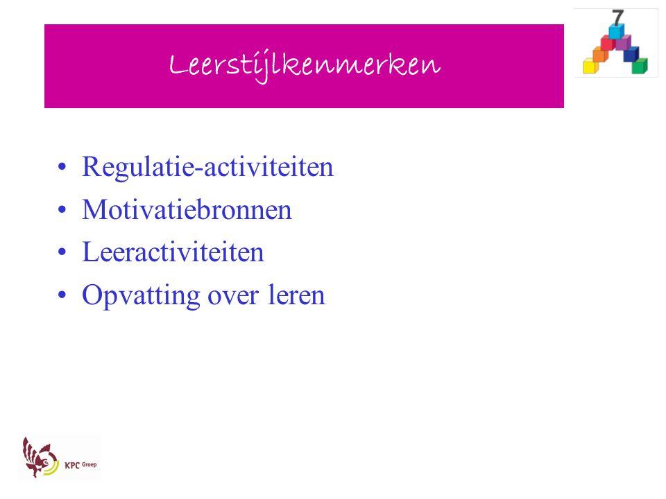 Leerstijlkenmerken Regulatie-activiteiten Motivatiebronnen Leeractiviteiten Opvatting over leren