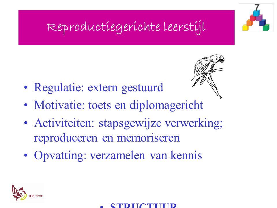 Reproductiegerichte leerstijl Regulatie: extern gestuurd Motivatie: toets en diplomagericht Activiteiten: stapsgewijze verwerking; reproduceren en mem