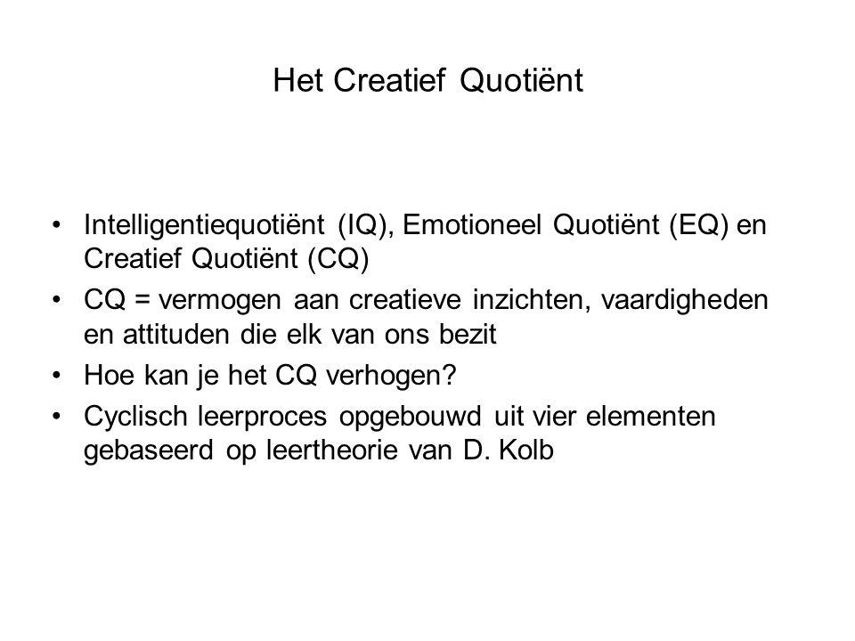 Het Creatief Quotiënt Intelligentiequotiënt (IQ), Emotioneel Quotiënt (EQ) en Creatief Quotiënt (CQ) CQ = vermogen aan creatieve inzichten, vaardigheden en attituden die elk van ons bezit Hoe kan je het CQ verhogen.